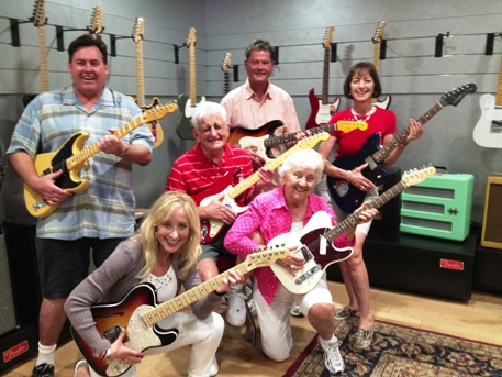 Jammin on the guitar with my dad and family at Fender Factory