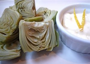 Artichokes with Garlic Dip