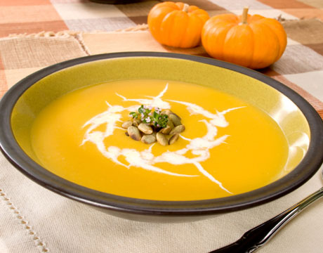 Pumpkin Ginger Soup with Sage