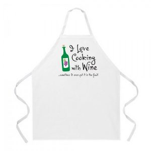 I Love Cooking with Wine Apron