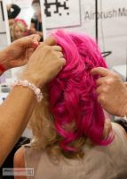 Dinair Hand-dyed Pink Hair Piece for Emmy night