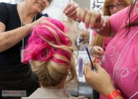 Dinair updo in progress... now that's pink!
