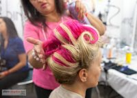 Dinair Hair Stylist, Lisa, perfecting my pink and blonde updo