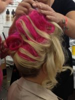 Dinair pink hairpiece interwoven into my blonde locks