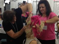 Dinair hair experts Carol and Lisa go to work