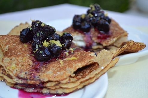 Blueberry Quinoa Crepes with Lemon Ricotta