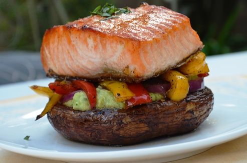Grilled Salmon on Portobello Stack