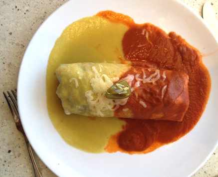 Chicken Burrito with two sauces