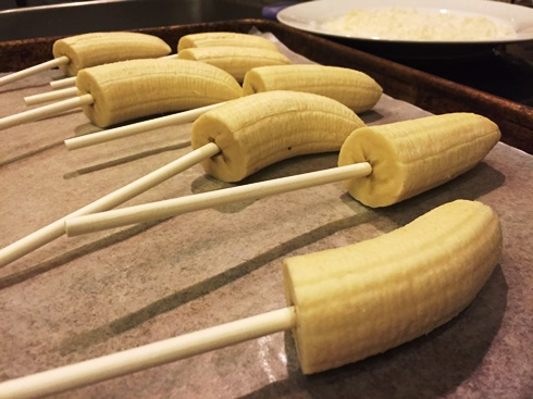 Bananas prepped for monster pops