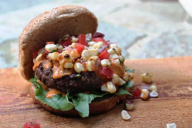All-American Bison Burger with Fire-Roasted Corn Salsa