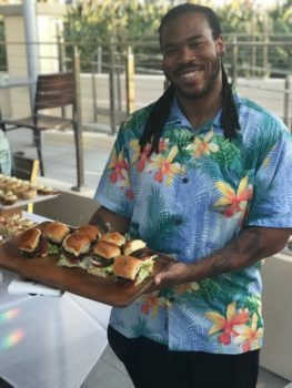 Curtis serving up the All-American Burger